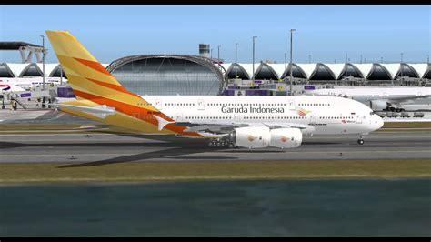 garuda indonesia airlines airbus      suvarnabhumi airport bangkock fs hd