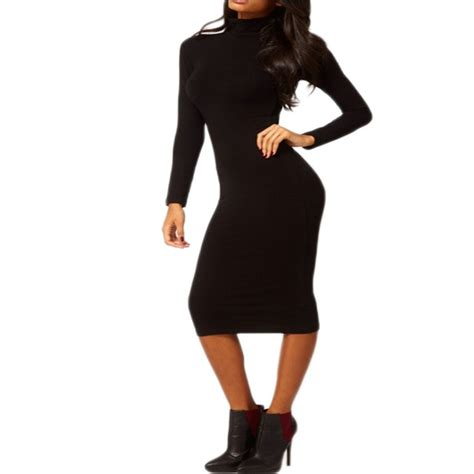 Obralll Turtleneck Bodycon Midi Tl9573 black hip stretch bodycon turtle neck