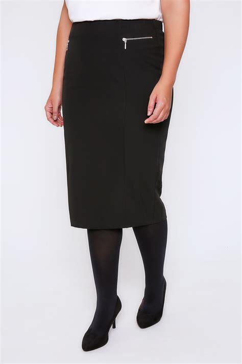 black pencil midi skirt with silver zip details plus size