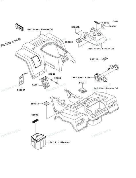 kawasaki bayou 250 parts diagram kawasaki atv parts 2011 klf250abf bayou 250 labels diagram
