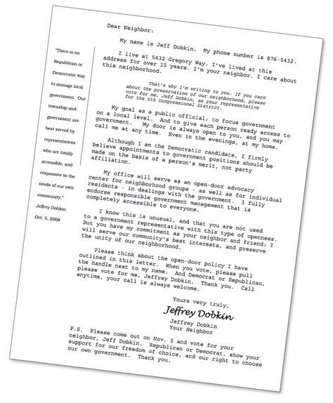 political letter format free sle political letter jeffrey dobkin