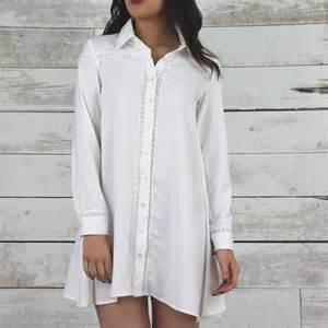 white long sleeve swing dress glamorous long sleeve white shirt swing dress casual