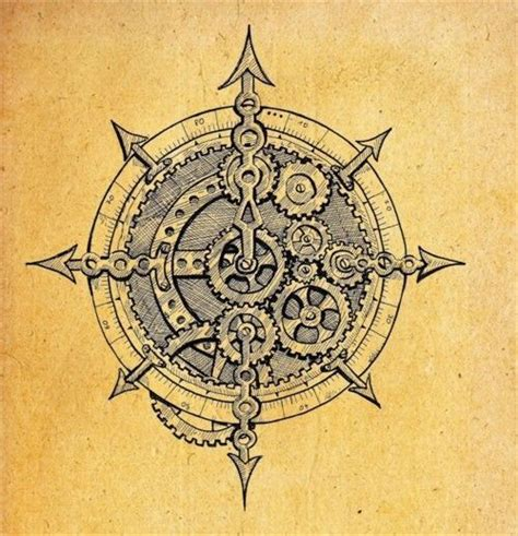 compass tattoo with gears gear compass boussole pinterest engrenages et rose
