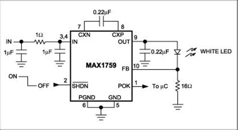 inductor voltage boost circuit compact inductor less boost circuit regulates white led bias current control circuit