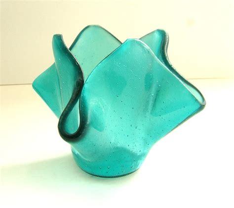 items similar to aqua glass vase l dish bowl l