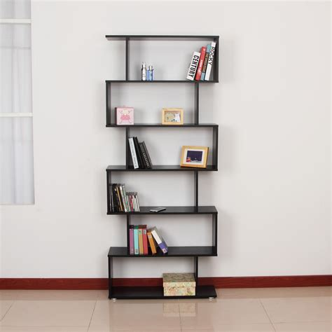 homcom storage bookcase 6 shelves wood bookshelf s shape