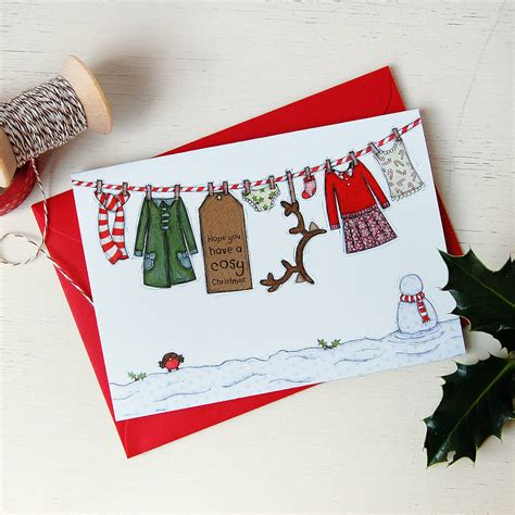 Macy S Christmas Gift Card - little girl s washing line christmas cards by clara and macy notonthehighstreet com
