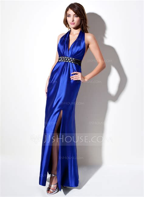 cocktail table sash length sheath column halter floor length charmeuse evening dress