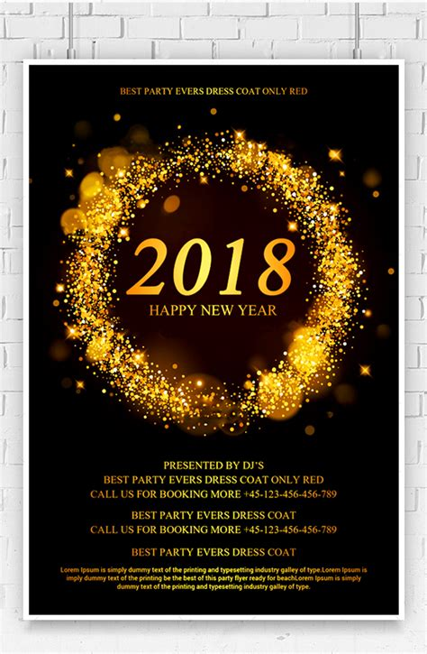 new year 2018 template free 2018 new year flyer psd template free pik psd