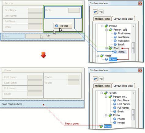 devexpress layout view hide caption view items layout customization expressapp framework