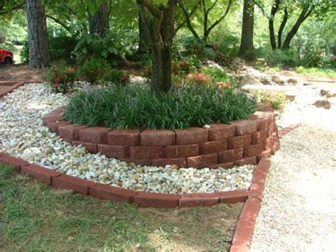 landscaping around a fire pit retaining walls flagstone