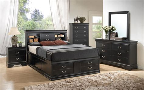 black queen bedroom sets black louis philippe queen storage bedroom set at gowfb ca