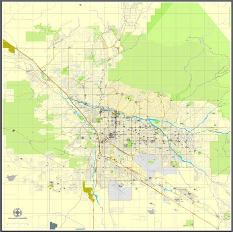 map of tucson tucson arizona us exact map printable vector city plan v 3 editable adobe