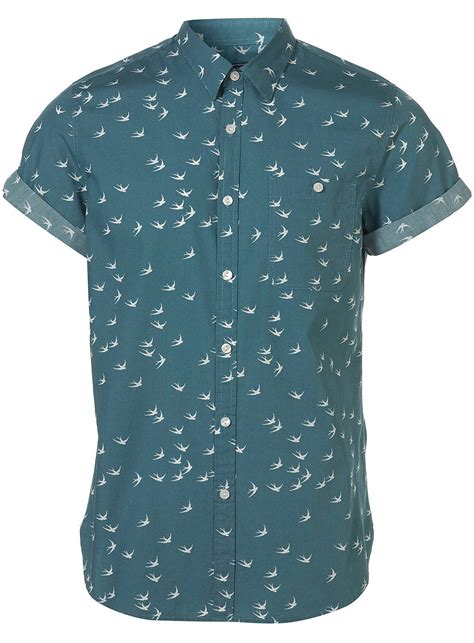 pattern shirt mens topman green swallow pattern short sleeve shirt in green