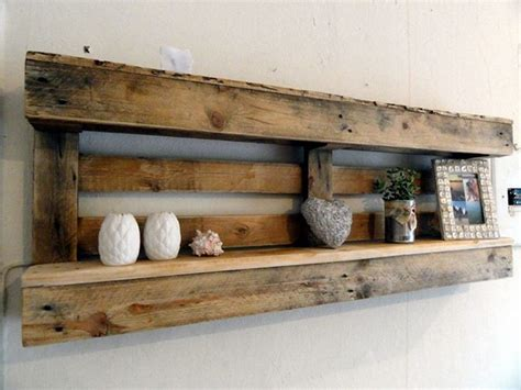Decorating Ideas Using Pallets Pallet Shelves With Wall Decor Pallet Wood Projects