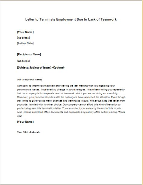 termination letter template due to lack of work employment termination letter due to lack of teamwork