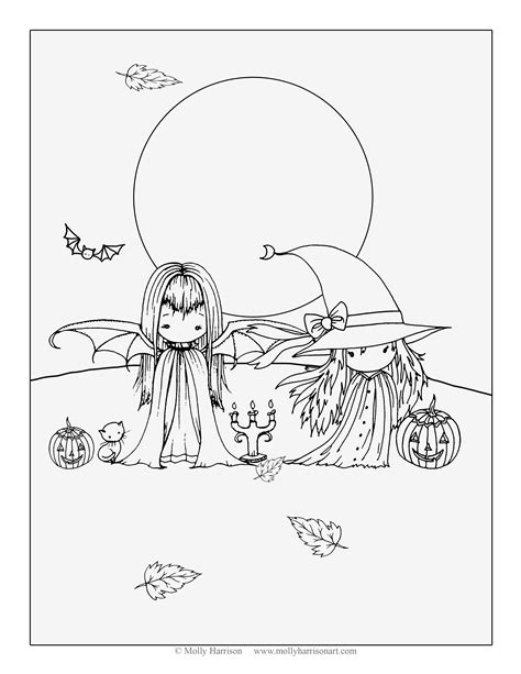 libro whimsical world coloring book two little witches free halloween coloring page by molly harrison fantasy art coloring pages