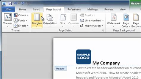 design a header in word how to make a header and footer in word 2010 youtube
