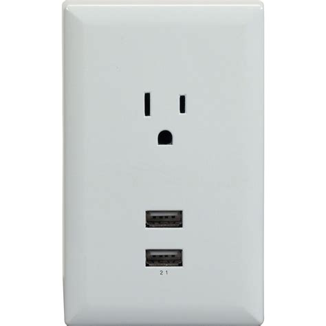 With Usb Outlets Rca Wp2uwr Dual Usb Single Power Outlet Wall Adapter Plate