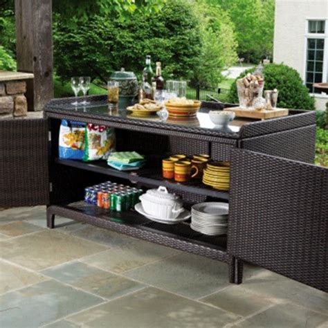 outdoor console table with storage alfresco home all weather wicker outdoor sideboard console