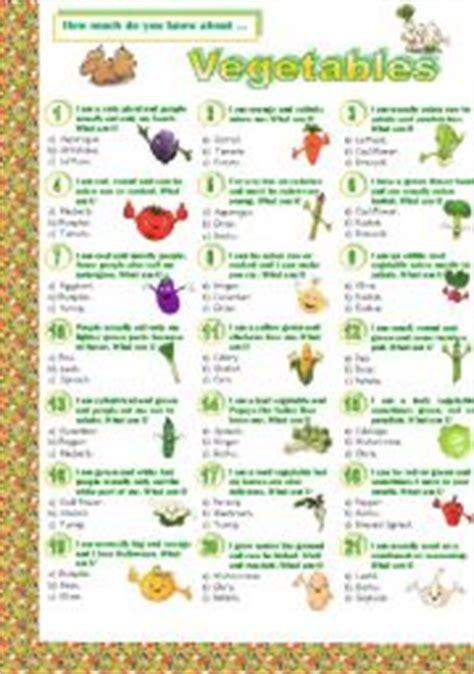 vegetables quiz teaching worksheets vegetables