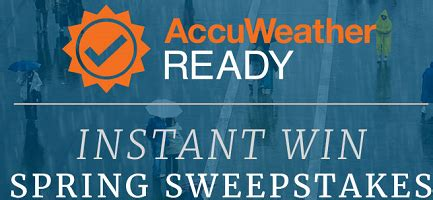 Instant Prize Sweepstakes - accuweather ready spring prizes sweepstakes and instant win game