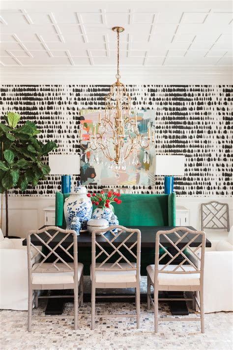 eclectic dining room eclectic dining room with black and white wallpaper
