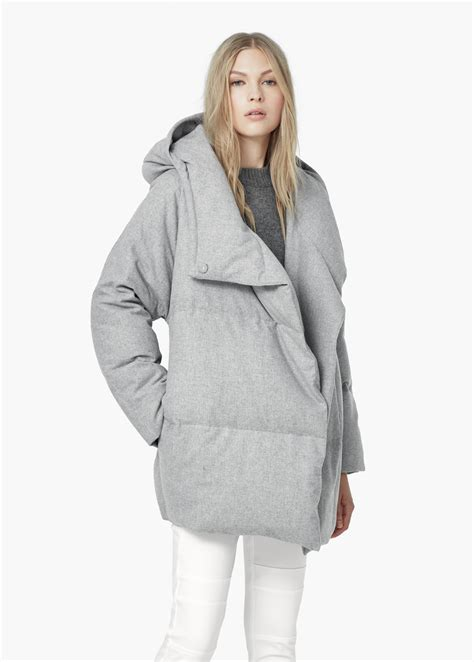 mango quilted feather coat in gray lyst