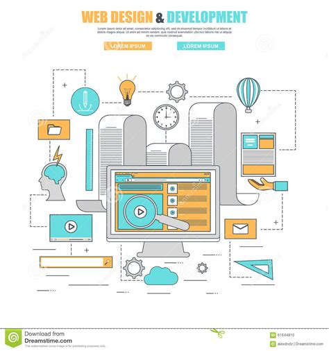 design concept and development thin line flat design concept for process web design and