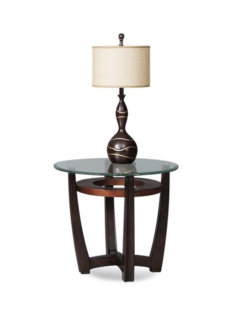 elation round end table copper ring finish t1078 220