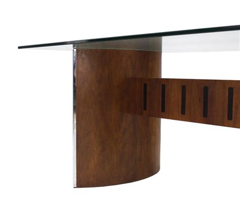 Curved Glass Dining Table Glass Top Curved Walnut Base Dining Table For Sale At 1stdibs