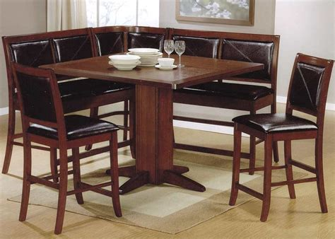 kitchen table sets with bench and chairs counter height dining table brown finish tables chairs