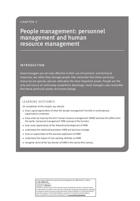 Human Resource Management For Mba Students Iain Henderson by 9781843982654 Sc