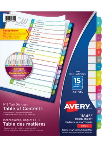 avery customizable table of contents avery 174 11845 ready index 174 customizable table of contents