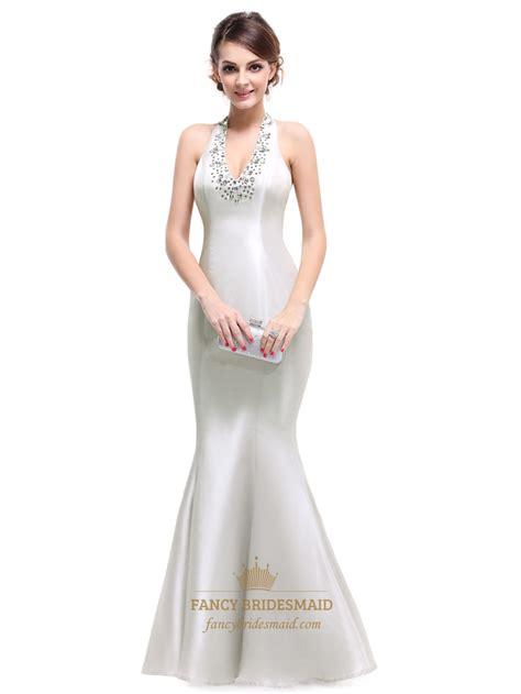 beaded halter prom dress silver taffeta halter mermaid prom dresses with