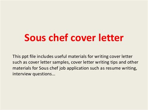 Chef Cover Letter – Sous Chef Cover Letter Example   icover.org.uk