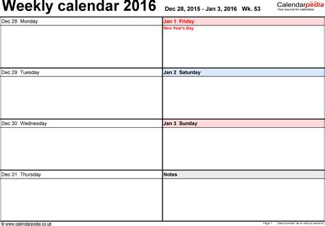 daily planner template 2016 weekly calendar 2016 uk free printable templates for word