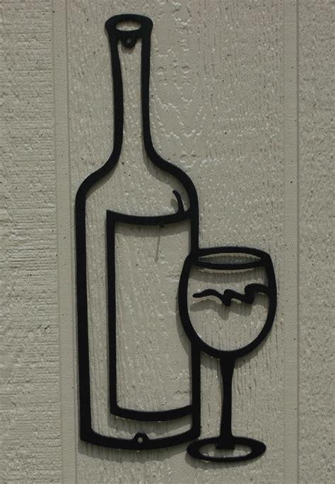 Wine Glass Wall Decor by Wine Bottle Glass Metal Wall Ebay