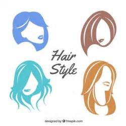 hairdressing different design colorful female hair style vector free download