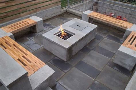 diy concrete pit table fireplace design ideas