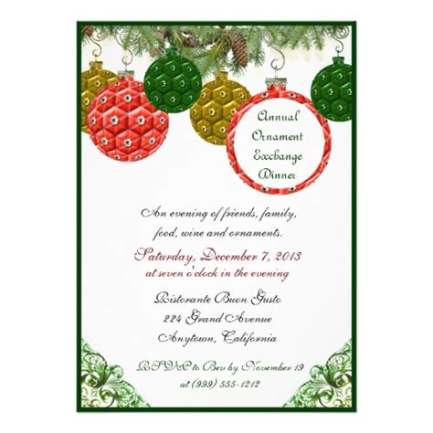christmas ornament exchange dinner invitations 5 quot x 7