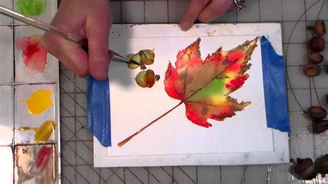 watercolor leaves tutorial acorns and maple leaf watercolor tutorial doovi