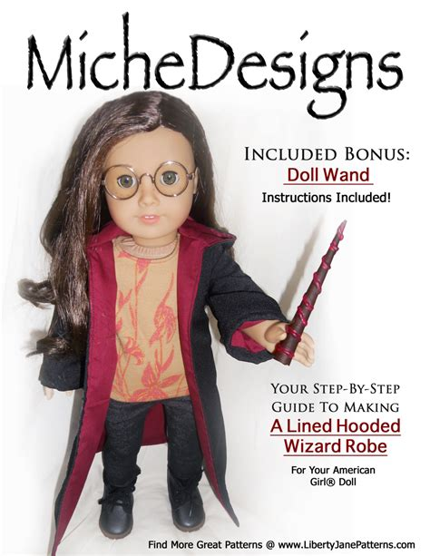 design american girl doll clothes pixie faire miche designs wizard robe doll clothes pattern for