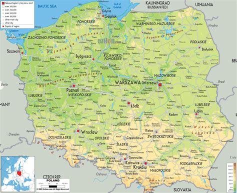 poland map europe physical map of poland ezilon maps