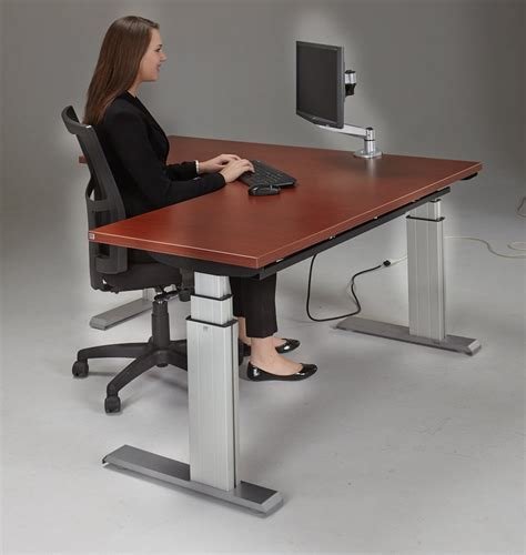Height Adjustable Corner Desk Newheights Corner Height Adjustable Standing Desk