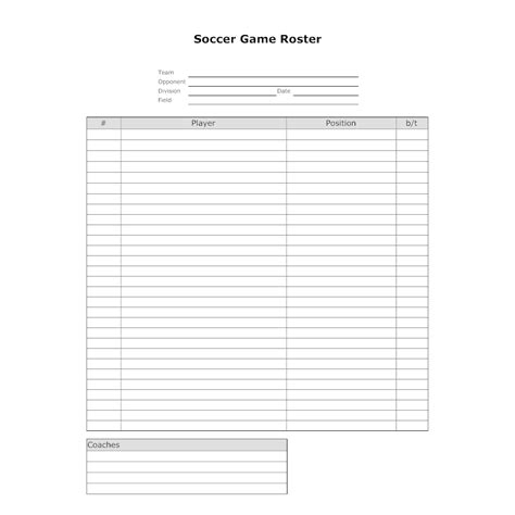sports team roster template soccer roster template