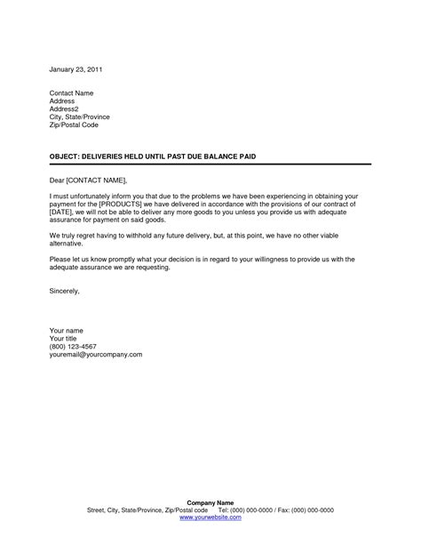 Past Due Letter Template How To Format Cover Letter Outstanding Balance Email Template