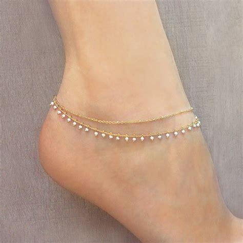 gold beaded chain anklet summer boho ankle bracelet