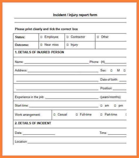 sle incident report form sle workplace incident