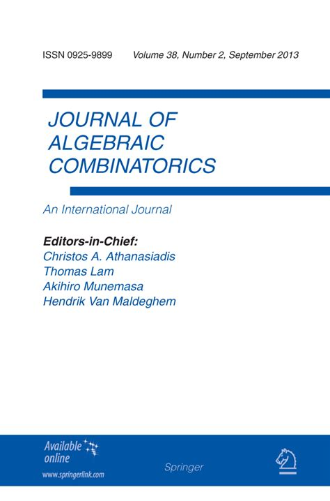 template for springer journals journal of algebraic combinatorics springer